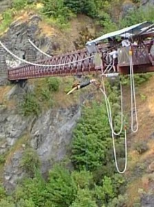 Carol jumping off a perfectly good bridge in New Zealand