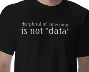 The plural of anecdote is not data